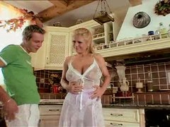 Curvy natural housewife foreplay in kitchen