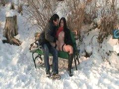 Public sex in the snow