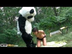 Skinny gal takes big sextoy from many in bear dress