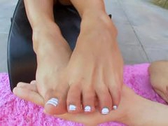 Hot lubed up footjob outdoors