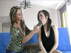 Enchanting young hotty learns how to blow from a milf