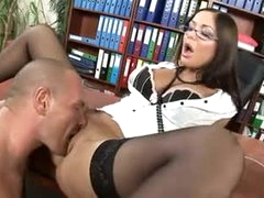 Hawt lips secretary slut fucked in his office