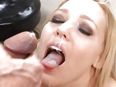 Liv Wylder gets her face blasted with warm ramrod juice