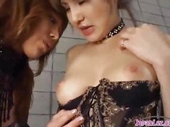 2 Hawt Oriental Girls In Sexy Underware Engulfing Each Other Nipples Patting On The Mattress In The Basement