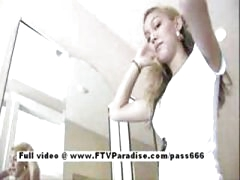 Super hot teen blonde flashing