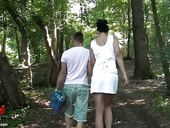 Pair fucking outdoors in the woods