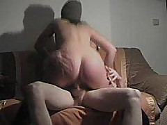 This german fuck wench rides cock, sucks dick, and receives slammed doggystyle and receives a cum blast on her ass!!