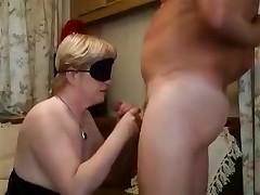Blonde lady with a blindfold is forced to feel her way to a hard boner previous to putting it in her mouth. The epic blowjob gets a little too hot and that babe need to take a break with a hand job in betwixt the unfathomable throats.