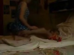 Erotic brunette GF with long hair and a banging body likes to please. That babe stands up above her man and strokes her pussy before coming back down and eating his dirty wet dick.