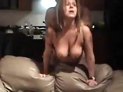 Mature doxy with large natural boobs is screwed from behind, her chap is rough with her.