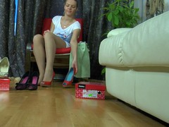 Tempting honey with well-maintained feet fits on recent shoes and lacy tights