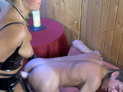 Desirous guy gets his tight butt whipped and plowed by a strap-on armed chick