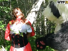 Little red riding hood was going to her... well who gives a fuck, this story is a lot more interesting anyways. Here we have a slutty beauty and the Panda bear that just got her on her knees. That babe gives him head and Panda repays this cute bitch with a deep fuck from behind. Will they live happily ever after?