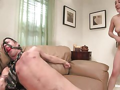Gwen Diamond likes cock and domination, this chick tied this stud on the couch with his legs widen and this chick ball gagged his mouth so that stud won't scream whilst this chick grabs his balls hard and sucks his dick after a good hard whipping. Stuffing her mouth with cock is even greater amount ravishing for her as long as this chick squeezes these balls.