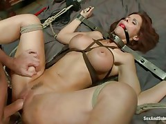 Tied on the sofa and ball gagged this bitch receives some shocks with an electric wand. The executor pays particular attention to her nipps and wazoo hole. Now it's time for some hard whipping on those hawt thighs and wet pussy. It looks like she's ready for a hard fuck but still needs some spanking on that cunt