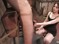 Hawt guy Wolf has his hands tied up by a very hot femdom-goddess called Amber. She enjoys attaching weights to his nipples and bald balls. Then, this chab gets his tight ass whipped for being such a bad boy. What punishments do u think she has prepared next for him?