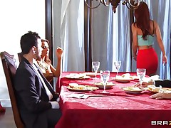 At dinning table spouse tells some truth about himself, redhead wife doesn't like it and wants to leave that place. As this babe is going to leave this babe is caught by one more sexy blond babe, spouse tells her to teach her wife a lesson. That babe lay her on the sofa and fingers her love tunnel and kisses her erotically. Blonde babe unzips her spouse pant and pulls of his hard dick and starts engulfing it in front of her spouse during the time that this babe is held taut by one more man.