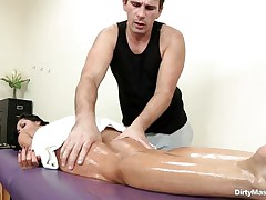 Look at this oiled slutty babe getting her sexy body massaged and her nice a-hole spanked. Watch how slutty that guy got when that guy saw her tight pussy. Is that babe going to acquire some cock juice on her charming face or a large hard cock inside her sexy ass?
