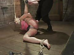 Amber not at any time felt so abased in her life! That babe is fastened with one leg up, blindfolded and mouth gagged. That babe get's what that babe deserves, an humiliating treatment that involves a lot of spanking. Look how her shoe is removed and her foot is spanked and then her thigh too. Does that babe enjoys the pain, should that babe receive some more?