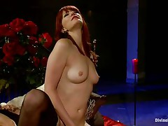 Her lengthy red hair, hawt legs and gorgeous face makes this guy wanna obey to her devilish wishes so this guy licks her muff like a good obedient boy and then bends over with submission to take it unfathomable in his ass. This babe drills his gap with her strap on vibrator and makes him moan, what else this mistress has prepared for him?