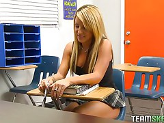 Holly is a nasty schoolgirl and this babe has got an stylish body. When this babe is taking private tuition her teacher was off for a second and instantly this babe begins rubbing her pussy. Her teacher has seen that, so this chab punished her by groping her boobs and rubbing her vagina and preparing her to fuck hard.