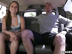 Cutie Remy LaCroix is once again delighting us with her sex drive. This time the hawt ass babe takes a ride white the bang bus and gets a hard cock between her soaked lips and in that tight shaved pussy of hers. Look at her working hard for some cum, ridding the man in cowgirl position