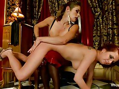 An aged slut punishes her sweetheart by booty slapping her and fingering that bald pussy deeply. She holds her on her knees and dominates that hawt butt. After finishing that babe fastened the redhead on a wooden structure, squeezed her scoops with rope and for now on is for u to find out alone what will happen to this beauty