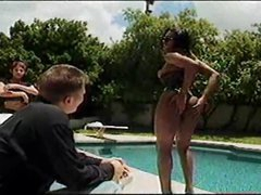 Black shelady eats big jock poolside