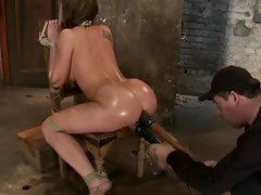 Amy Brooke hog tied then a huge dildo rammed in a-hole