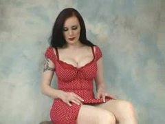 Retro babe in red lipstick sexy striptease