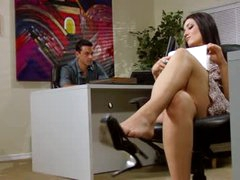 Sexy office footjob and blowjob