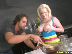 Breasty blonde Alyssa cooks up something kinky