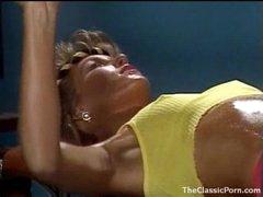 Fucking an 80s gym girl in retro movie scene