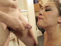 Kristina Rose gets her face plastered with warm cum