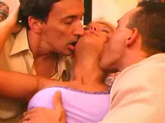 Hotel room threesome with a sexy golden-haired
