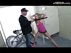 Nasty Blonde Girl Getting Handcuffed Cum-hole Rubbed With Baton Giving Oral stimulation For The Security Guard In The Public Toilette