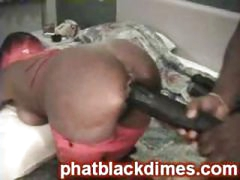 Nasty black ghetto freak acquires drilled with big toy