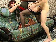 Mature mistress in hawt underware teaching a exposed dong-strong chap to behave