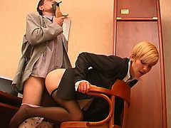 Slutty co-worker sniffing high heel shoes whilst fucking sexy cutie in dark hose