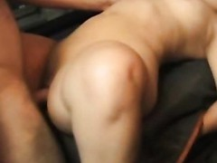 This horny older pervert craves to try fitting his big obese dick in a truly taut muff and ends up fucking some shameless midget slut hard and loud right in the back of his red pickup truck.
