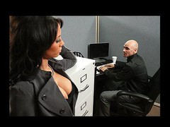 Johnny is trying to concentrate at work, but this guy can't assist but be distracted by his co-worker, Mya's big sexy bra buddies and the provocative way that hottie dresses. Disappointed by his inability to pay attention at the office, this chab complaints to his supervisors. Angry and hurt, Mya uses her luscious big melons to persuade Johnny to take action that's not so legal...