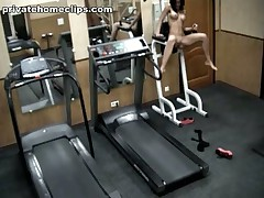 Just look at this depraved dark brown hair honey going crazy in the gym when alone! 1st she's exercising in no thing but nylon pantyhose and then she's stripping it likewise and spreading her kewl legs wide as if gagging for deep penetrations!