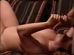 See sexual homemade video with plump doll jerking off hard dick and petting balls of her husband until this guy shoots his hot cum on her huge boobs.