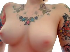 The flawless emo girlfriend featured on this oozed private webcam movie scene is wearing nothing but her sexy tattoos while she fingers her pussy and ass for her cyber show fans! That babe copulates herself with dildos too!