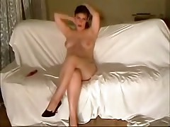 This curvy fem felt very shy posing previous to her BF's web camera at first but then that babe relaxed and teased him with her full wobblers and soaking pussy.