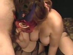 A lady with big tits gets herself off with a toy as I engulf her breasts. She cums loudly then sucks the cum out of my cock swallowing the load. Moaning with glee this babe then rubs my soaked drained penis on her nipple.