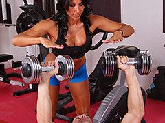 Lezley Zen's working as a personal coach and this babe's got a new client, but this hottie doesn't know which of the 2 guys it is in the gym. Johnny Sins tricks the other man into leaving the gym so this chab's alone for some one on one time with Lezley. First Lezley shows him some proper ways to toning some muscles, then later Johnny shows Lezley some hawt work outs that gets her sweating!