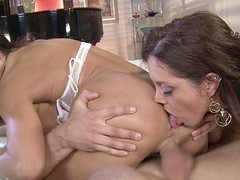 Dark Brown MILFs Francesca Le and Lisa Ann love to share, especially when it comes to sex.  They take turns French giving a kiss and feeling each other's bodies in advance of going to work on this fortunate guy's hard rod.  They have a wild time taking turns banging him in advance of they kneel down for the double facial.