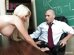 This sexy golden-haired schoolgirl with perfect boobs, lengthy sexy legs and shaved taut cum-hole is masturbating thinking about her teacher. After hours this hottie makes her fantasy a reality and undresses in front of this fortunate guy, showing her sexy body, perfect milk cans and gorgeous ass, making him very happy. Do u think this hottie will gulp his semen?