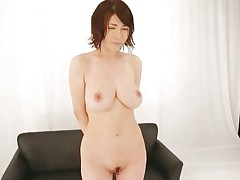Akane is a natural beauty, she has a pair of superb breasts, sexy legs and a cute face that demands for a few loads of jizz on it. That babe is in front of an audience and needs to give her best at showing these guys and us what a worthless whore she is. Akane spreads her legs wide and shows her love tunnel before rubbing it.